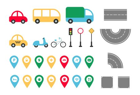 City road elements set. Town map constructor with flat transport car, bus, truck, taxi, bike, bicycle, road signs, map pointers. Vector illustration for creating infographics, web, game, mobile app. 矢量图像