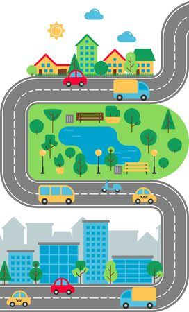 Flat City urban landscape. Cute town street with downtown business buildings, road, suburb, houses, park, transport. Cityscape vector illustration for web, brochure design, infographics, mobile app.