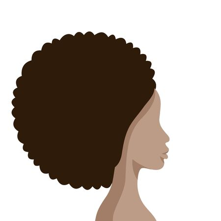 Beautiful African American Woman Face Profile Flat Silhouette on white background. Beautiful afro girl head side view. Vector Illustration.