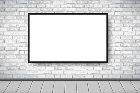 Flat Interior with empty white picture frame on gray brick wall. Trendy loft room scenery background, fashion gallery exhibition interior. Vector Illustration for web, poster mockup, exposition Vector Illustration