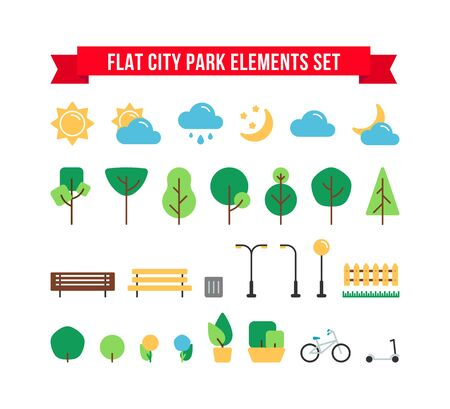 Flat simple park or garden elements vector set. Urban outdoor decor elements collection. Tree, weather sign, bench, bush, bike and street lamps isolated for web icons, mobile app, infographics.