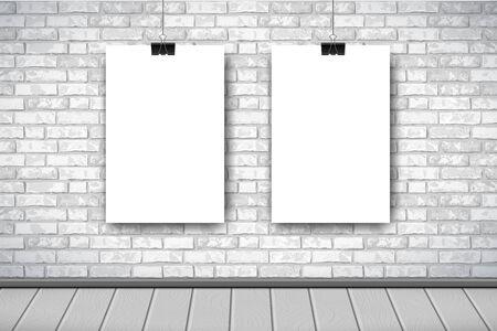 Flaches Interieur mit zwei leeren weißen Postern auf grauer Backsteinmauer. Trendiger Loftraum-Hintergrund, Ausstellungsinnenraum der Modegalerie. Vektor-Illustration für Web, Plakatmodell, Ausstellung.