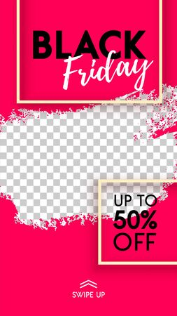 Black Friday Sale abstract red banner background. Screen backdrop with place for photo. Vector illustration design template for flyer, poster, discount, web, social media stories, ads, mobile app.