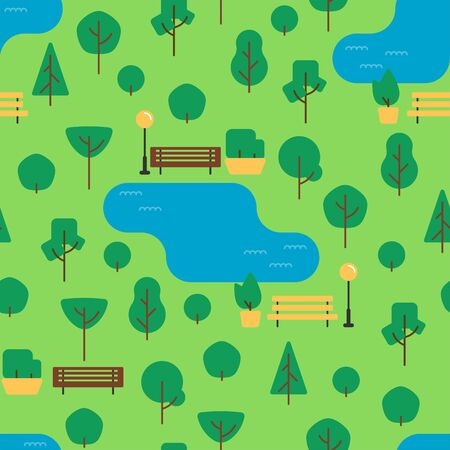 Flat cute park garden seamless pattern. Urban outdoor texture with trees, benches, bushes, lake, lawn, street lamps for print, paper, design, fabric, decor, gift wrap, background. Vector illustration.