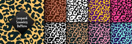 Trendy leopard seamless pattern set. Hand drawn wild animal cheetah skin abstract texture for fashion print design, fabric, textile, cover, wrapping paper, background, wallpaper. Vector illustration.