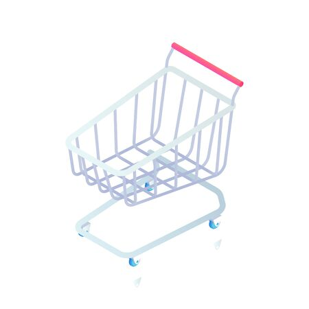 Empty supermarket shopping trolley cart isometric Icon. 3d basket on wheels sign isolated on white background. Vector illustration For Web site, Mobile, apps, social media