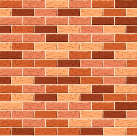 Realistic Vector brick wall seamless pattern. Flat wall texture. Orange and red textured brick background for print, paper, design, decor, photo background.