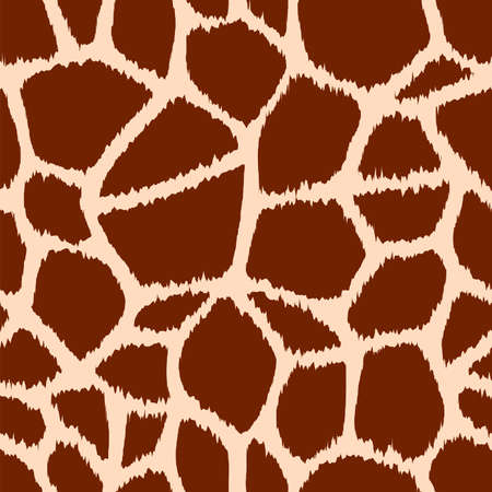 Trendy giraffe seamless pattern. Hand drawn wild animal skin natural brown texture for fashion print design, fabric, textile, cover, wrapping paper, background, wallpaper. Vector illustration. Çizim