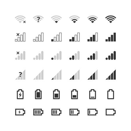 Mobile gadget bar icons set. 4g and 5g network signal strength, battery charge indicator. Communication, phone system symbols collection. Vector illustration for web, app, ui, interface.