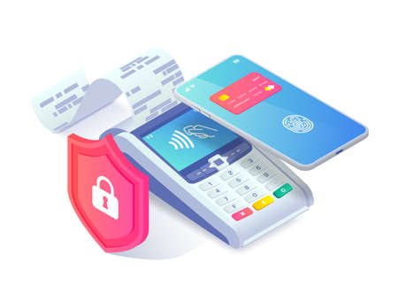 Safe Contactless payment via smartphone isometric concept. 3d payment machine and mobile phone behind shield isolated on white. Mobile transaction protection, NFC payment safety. Vector illustration.