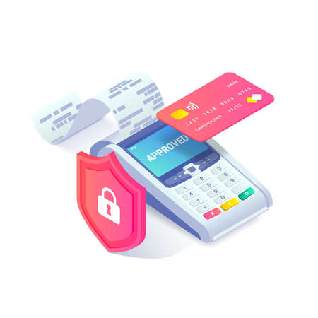 Contactless payment via credit card isometric concept. 3d payment machine printing check, plastic debit card behind shield. Cashless transaction protection, NFC payment safety. Vector illustration.