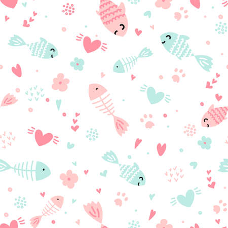 Hand drawn kid seamless pattern. Pastel pink and blue hearts, cat paws footprints, cute fish abstract texture background. Vector illustration for child print design, paper, fabric, decor, gift wrap. Illustration
