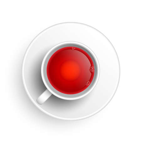 Realistic 3d cup of hot aromatic healthy herbal rooibos or hibiscus red tea. A teacup top view isolated on white background. Vector illustration for web, design, menu, app.