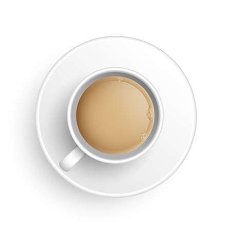 Realistic 3d cup of hot aromatic freshly brewed Indian Masala black tea with milk. A teacup with saucer top view isolated on white background. Vector illustration for web, design, menu, app. Ilustração