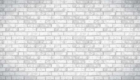 Realistic Vector brick wall pattern horizontal background. Flat wall texture. White textured brickwork for print, paper, design, decor, photo background, wallpaper. Illusztráció