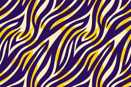 Trendy color abstract tiger pattern background. Hand drawn fashionable wild animal skin texture for fashion print design, cover, banner, wallpaper. Vector illustration. Ilustração