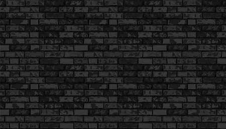 Realistic Vector brick wall pattern horizontal background. Flat wall texture. Black textured brickwork for print, paper, design, decor, photo background, wallpaper