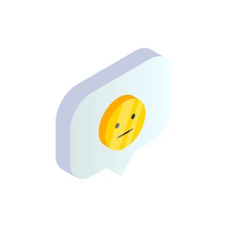 Isometric smile emoji symbol in speech bubble. 3d displeased emoticon, customer rating satisfaction negative feedback emotions. Social Media vector illustration for web, app, design, infographics.