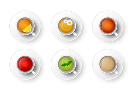 Realistic 3d cup of hot aromatic beverage set. A teacup with green, black, herbal chamomile tea, rooibos red tea, tea with lemon, mint, Masala tea with milk, coffee top view. Vector illustration.