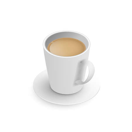 Realistic 3d cup of hot aromatic freshly brewed Indian Masala black tea with milk. A teacup with saucer isometric view isolated on white background. Illustration