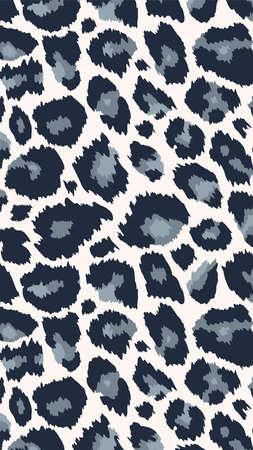 Trendy snow leopard vertical background. Hand drawn fashionable wild animal cheetah skin black white texture for fashion design, social media banner, cover, phone wallpaper.