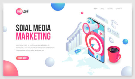 Digital marketing landing. Social Media Mobile Isometric web page concept. Trendy 3d Business analysis illustration with smartphone for web site, mobile app.