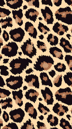 Trendy leopard pattern vertical background. Hand drawn fashionable wild animal cheetah skin natural texture for fashion design, social media banner, cover, smartphone wallpaper. Ilustracje wektorowe