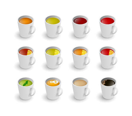 Realistic 3d cup of hot aromatic beverage set. A teacup with green, black, herbal chamomile tea, rooibos red tea, with lemon, mint, Masala tea with milk, coffee isometric view.