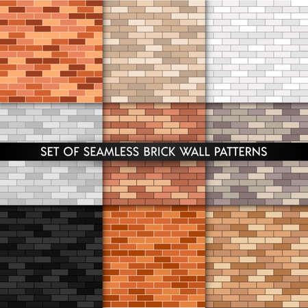 Vector brick wall seamless pattern set. Flat wall textures collection. Yellow, gray, red, white, black textured brick background for print, paper, interior design, decor, photo backgrounds. 矢量图像