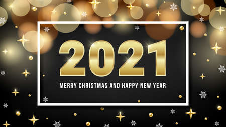2021 Merry Christmas and Happy New Year greeting card design with golden numbers, bokeh, gold beads, shiny stars and snowflakes on black background. Vector illustration for web, xmas banner, mail. Ilustracja