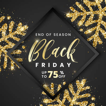 Sale Black Friday banner 75 percent off with black frame and golden glitter textured snowflakes on black background. Vector illustration stylish design template for shopping flyer, discount, voucher.