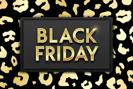 Black Friday Sale banner on glossy golden and black leopard skin texture background. Vector illustration stylish design template for shopping flyer, discount, web, advert, tag, promo. Vettoriali