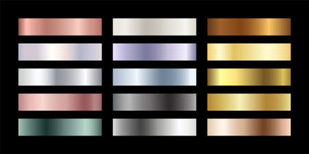 Metal chrome gradient color set. Metallic rose gold, bronze, silver, elegant pearl, midnight green, golden swatches palette. Vector shiny background collection for border, frame, label, flyer, design.