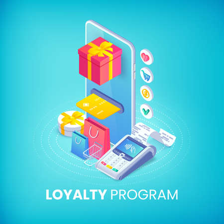 Loyalty program isometric banner concept. 3d vector smartphone with gift box, credit cart, shopping bags and pos terminal. Online store discount service illustration for web, mobile app, advert, site.
