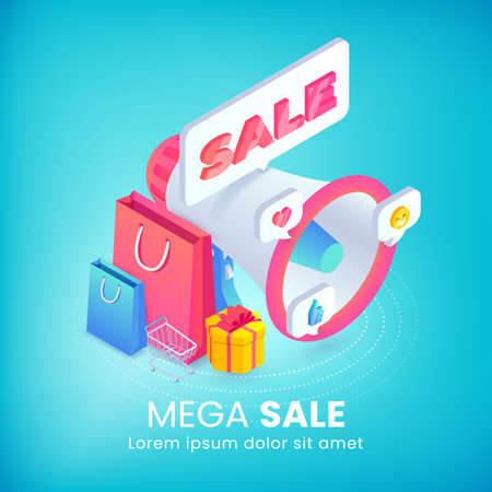 Mega Sale isometric advertising banner concept with 3d bullhorn, promotion sale sticker, shopping bags, gift, social media icons on blue. Flat vector illustration for web, mobile app, infographics.