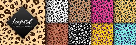 Vector Trendy leopard skin seamless pattern set. Hand drawn wild animal cheetah spots abstract texture.