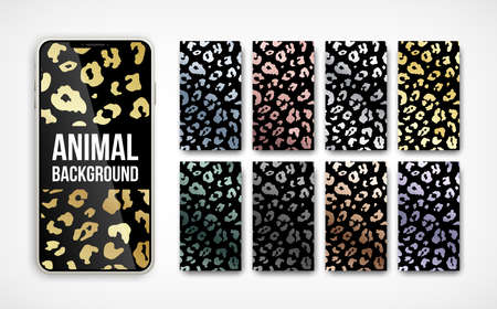 Trendy metallic leopard abstract vertical background set. Vector wild animal golden, silver, chrome, rose gold texture.