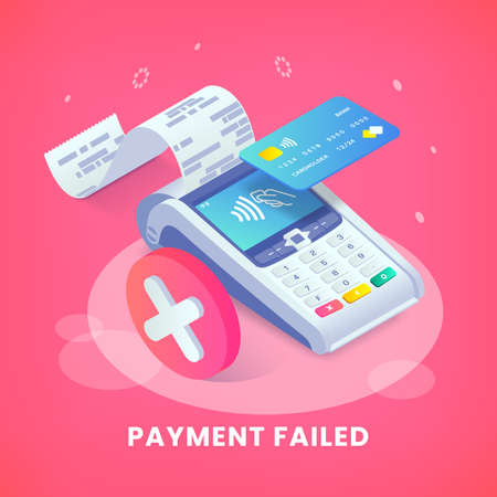 Isometric shopping, error contactless payments banner. 3d payment terminal with red cross checkmark concept. Cashless NFC payment transaction canceled. Vector Flat payments machine. 向量圖像