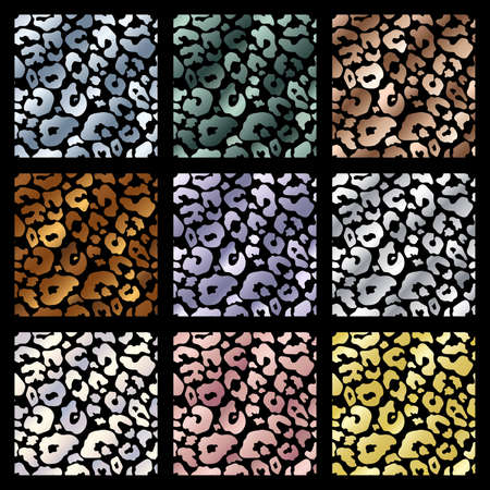 Trendy golden leopard abstract seamless pattern set. Vector Wild animal cheetah skin gold, silver, chrome, pink metallic texture collection for fashion print design, cover, wrap, background, wallpaper