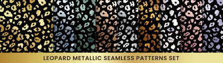 Trendy golden leopard abstract seamless pattern set. Vector Wild animal cheetah skin gold, silver, chrome, pink metallic textures on black for fashion print design, cover, wrap, wallpaper, background. Illustration