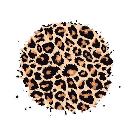 Leopard print textured hand drawn brush stroke circle shape. Abstract paint spot with wild animal cheetah skin pattern texture. Vector design element for fashion print design, tag, card, backgrounds.
