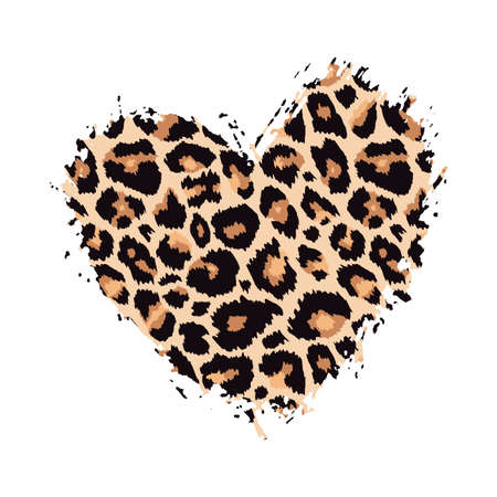 Leopard print textured hand drawn brush stroke heart shape. Abstract paint spot with wild animal cheetah skin pattern texture. Vector design element for fashion print design, tag, card, backgrounds.