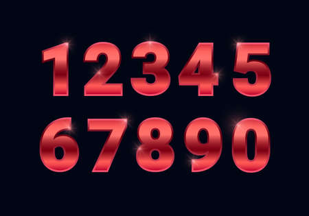 Red gold shiny numbers set, metal font signs isolated on black background. Luxury fashion metallic typography design for decoration, design, web, advert, greeting card. Vector illustration. 矢量图像