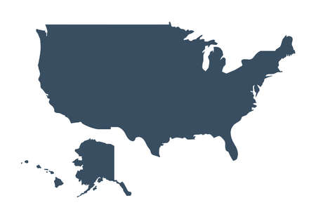 USA vector map. United States of America country silhouette isolated on white background. Vector Illustration for web, design, infographics, app, poster.