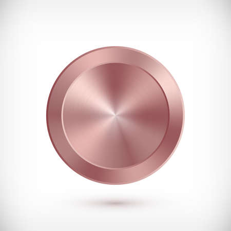 Metal rose gold circle badge. Vector Metallic textured pink button, shiny design element for background, web, apps. 矢量图像