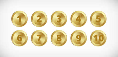 Metal gold circle buttons with numbers set. Vector Metallic textured golden badges, shiny design elements for background, web, apps. 矢量图像