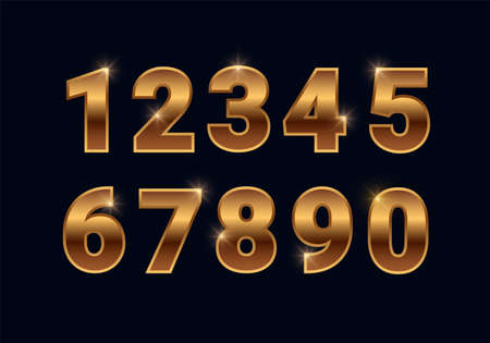 Bronze shiny numbers set, golden font signs isolated on black background. Luxury fashion metallic copper typography design for decoration, design, web, advert, greeting card. Vector illustration.