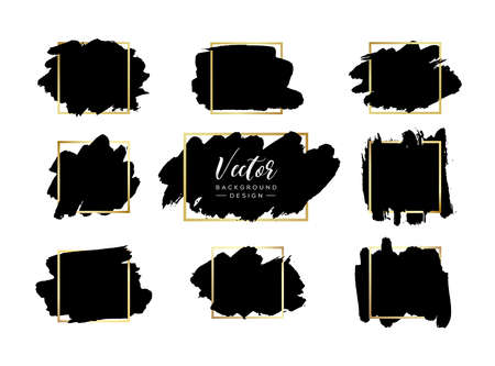 Grunge vector backgrounds set. Hand drawn brush spots with golden frames. Ink brush strokes, black paint spot textured design element, background for text with gold square border