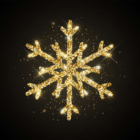 Gold glitter textured snowflake icon on black background. Vector Shiny Christmas, New year and winter sparkling golden hand drawn snow symbol for print, web, decoration, greeting card. 矢量图像