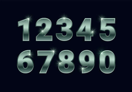 Green shiny numbers set, metallic chrome font signs isolated on black background. Luxury fashion white gold typography design for decoration, design, web, advert, greeting card. Vector illustration. 矢量图像